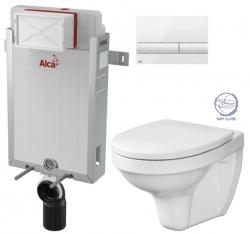 ALCAPLAST  Renovmodul - předstěnový instalační systém s bílým tlačítkem M1710 + WC CERSANIT DELFI + SOFT SEDÁTKO (AM115/1000 M1710 DE2)
