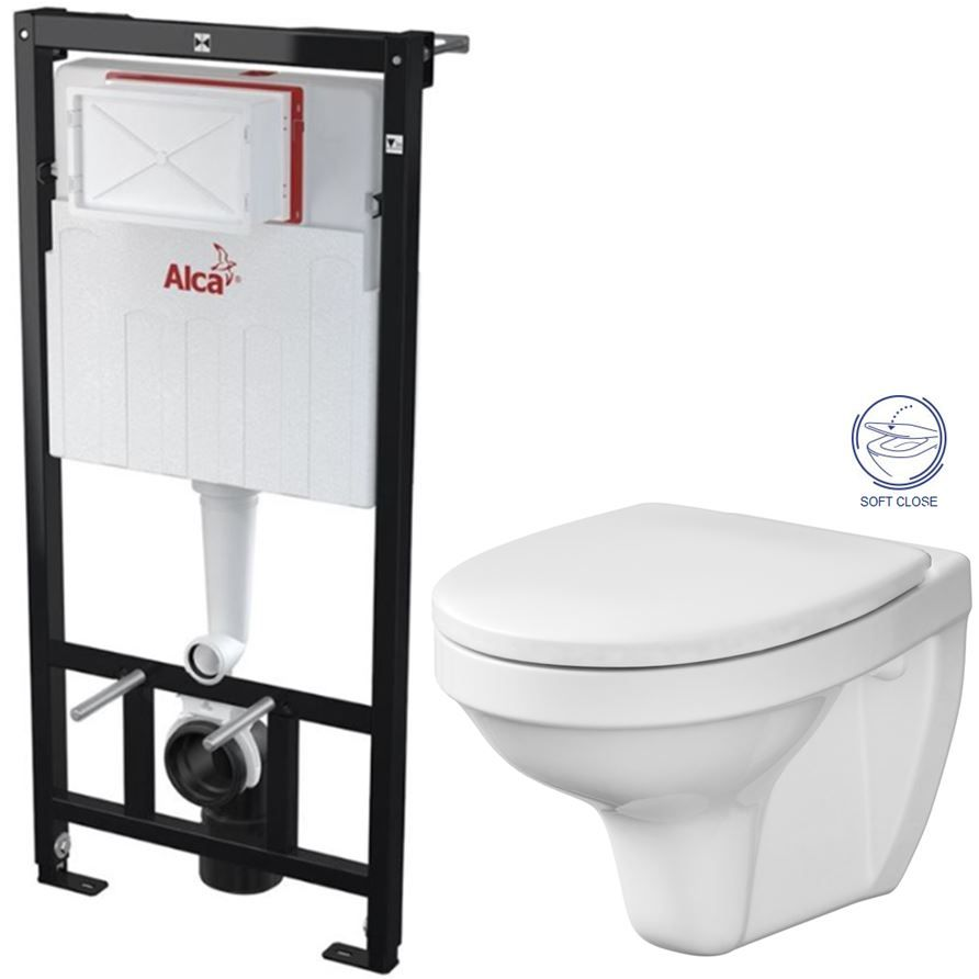 ALCAPLAST Sádromodul předstěnový instalační systém bez tlačítka + WC CERSANIT DELFI + SOFT SEDÁTKO AM101/1120 X DE2