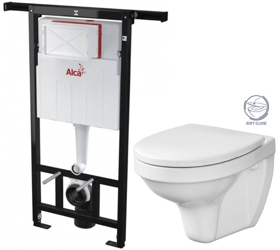 ALCAPLAST Jádromodul předstěnový instalační systém bez tlačítka + WC CERSANIT DELFI + SOFT SEDÁTKO A