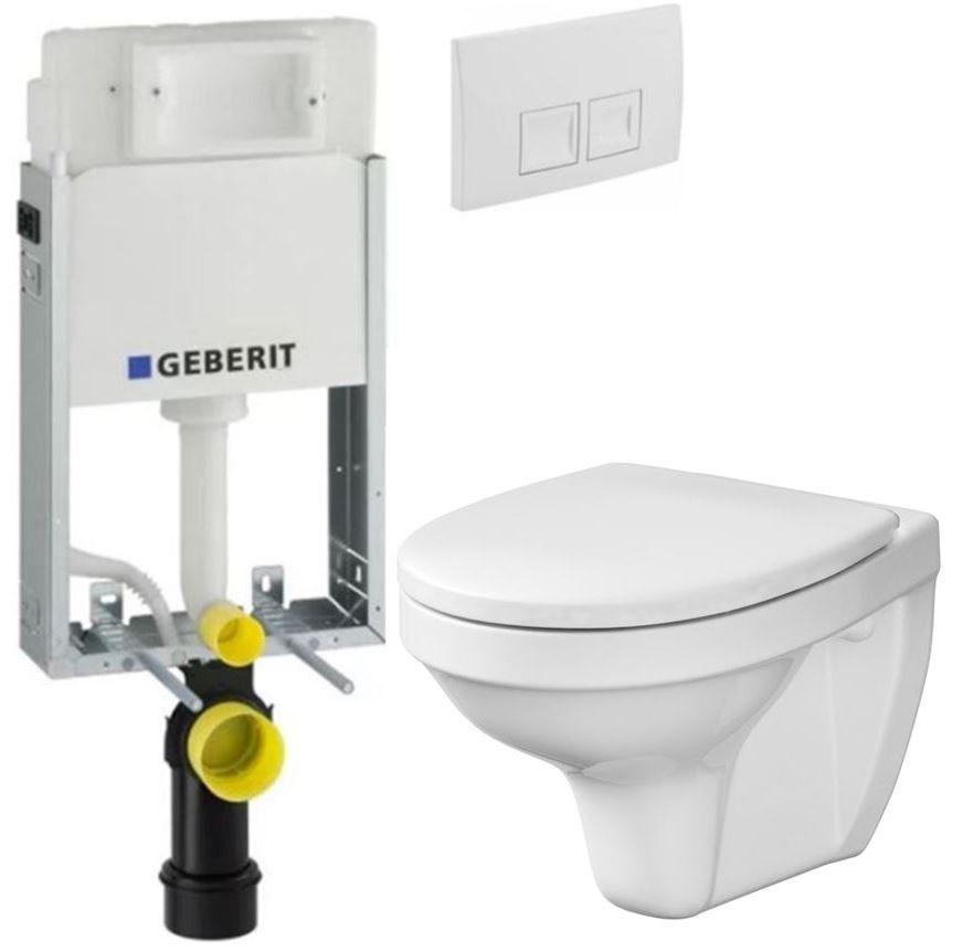 GEBERIT KOMBIFIX Basic tlačítko DELTA 50 Bílé WC CERSANIT DELFI + SEDÁTKO 110.100.00.1 50BI DE1