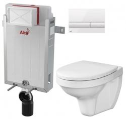 ALCAPLAST  Renovmodul - předstěnový instalační systém s bílým tlačítkem M1710 + WC CERSANIT DELFI + SEDÁTKO (AM115/1000 M1710 DE1)