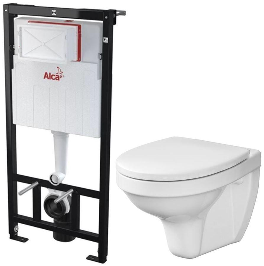 ALCAPLAST Sádromodul předstěnový instalační systém bez tlačítka + WC CERSANIT DELFI + SEDÁTKO AM101/1120 X DE1