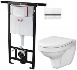 AKCE/SET/ALCAPLAST - SET Jádromodul - předstěnový instalační systém + tlačítko M1720-1 + WC CERSANIT DELFI + SEDÁTKO (AM102/1120 M1720-1 DE1)