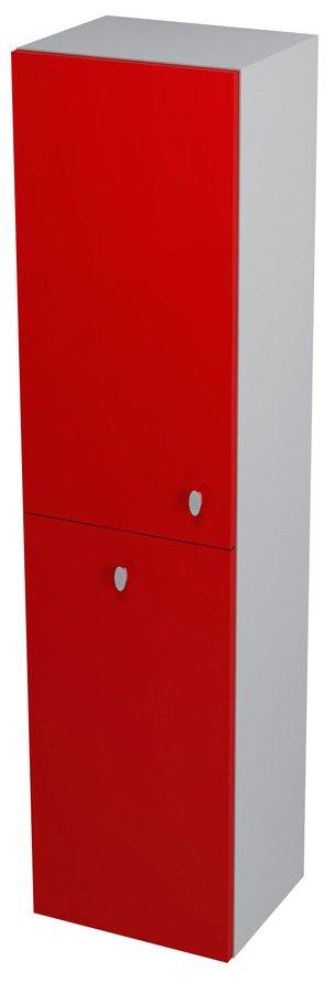 AILA skříňka vysoká s košem 35x140x30cm, levá, červená/stříbrná (55647)