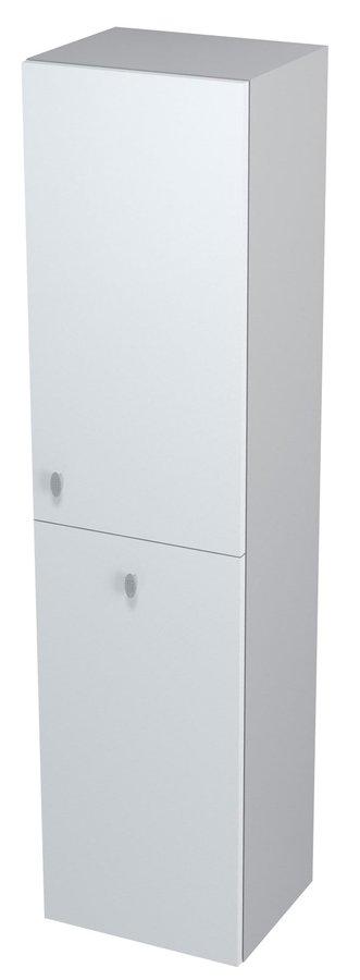 AILA skříňka vysoká s košem 35x140x30cm, pravá, bílá/stříbrná (55674)