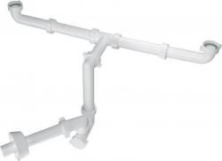 BAZOOKA SPACE umyvadlový sifon pro dvojumyvadlo, 1'1/4, odpad 32 mm, bílá (2920CP32B0) - BONOMINI