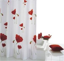 SAPHO - MOHN sprchový závěs 180x200cm, polyester, červenobílá (47800)