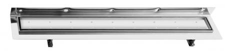 SAPHO - CORNER 97 nerezový sprchový kanálek s roštem pro dlažbu, ke zdi 970x130x82 mm (FP538)