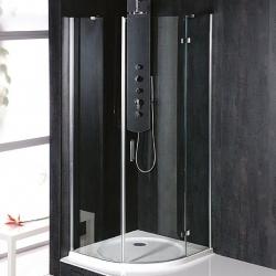 POLYSAN - VITRA LINE zástěna, čtvrtkruh 800x800mm, R550,pravá,ovál.panty, čiré sklo (BN2518R)