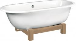 POLYSAN - MATRIX W volně stojící vana 175x80x60cm, bílá, dřevěná konstrukce světlý dub (39123)