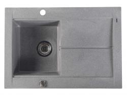 Dřez granitový vestavný s odkapávací plochou, 76,5x53,5 cm, šedá (GR1503) - SAPHO