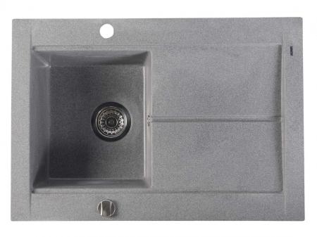SAPHO - Dřez granitový vestavný s odkapávací plochou, 76,5x53,5 cm, šedá (GR1503)
