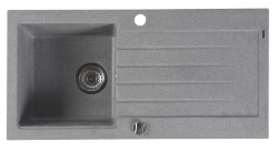 SAPHO - Dřez granitový vestavný s odkapávací plochou, 86x43,5 cm, šedá (GR1603)