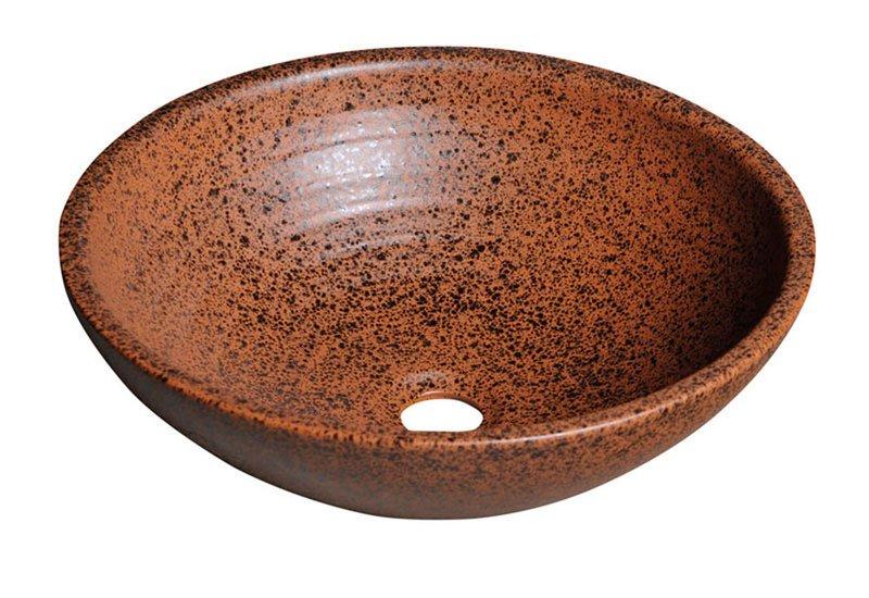 SAPHO ATTILA keramické umyvadlo, průměr 46,5 cm, terakota hnědá DK014