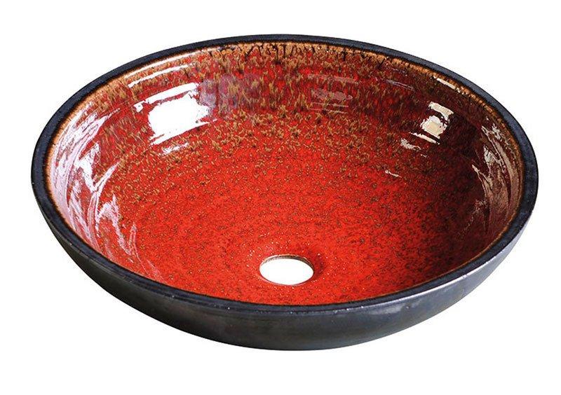 SAPHO ATTILA keramické umyvadlo, průměr 46,5 cm, tomatová červeň/petrolejová DK017