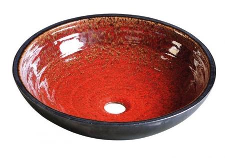 SAPHO - ATTILA keramické umyvadlo, průměr 46,5 cm, tomatová červeň/petrolejová (DK017)