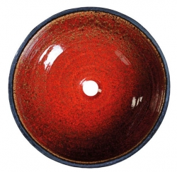 SAPHO - ATTILA keramické umyvadlo, průměr 46,5 cm, tomatová červeň/petrolejová (DK017), fotografie 2/1