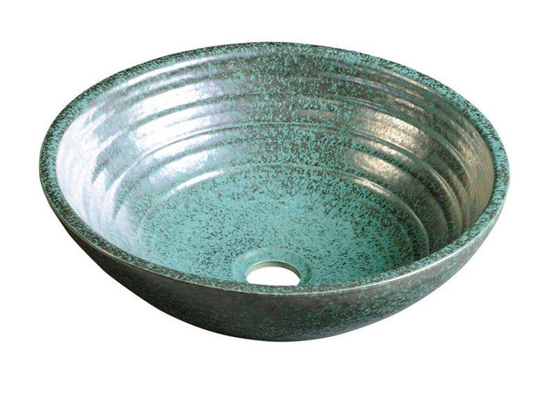 SAPHO ATTILA keramické umyvadlo, průměr 46,5 cm, zelená měď DK016