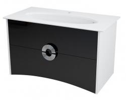 SAPHO - AVEO umyvadlová skříňka 96,5x58x49cm, bílá/černá (AV100)