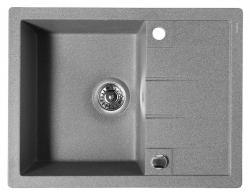 SAPHO - Granitový vestavný dřez s odkapávací plochou, 65x50 cm, šedá (GR6503)