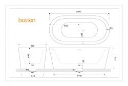 Aquatek - Volně stojící akrylátová vana BOSTON 170x80 cm (BOSTON), fotografie 4/2