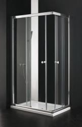 Aquatek - MASTER R4 Chrom Sprchová zástěna obdélníková 90x72cm, barva rámu bílá, výplň sklo - čiré (MASTERR4-166)