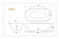 Aquatek - Hillary 172x100cm koupací vana z litého mramoru (Hillary), fotografie 4/2