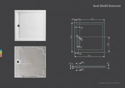 Aquatek - LEVEL 90x90 sprchová vanička z litého mramoru čtvercová (LEVEL90), fotografie 4/2