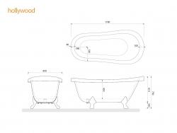 Aquatek - Volně stojící akrylátová vana HOLLYWOOD 170x90 cm (HOLLYWOOD), fotografie 4/2