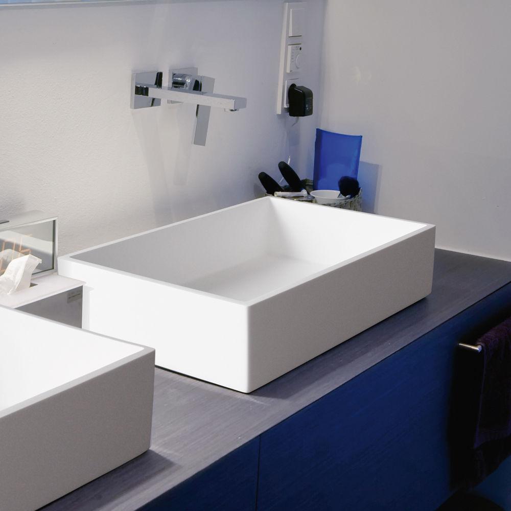Aquatek CUBE umyvadlo z litého mramoru 57,5x 37,5 cm, bílé CUBE
