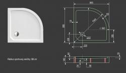 Aquatek - SMC MAXI 90x90cm sprchová vanička z tvrzeného polymeru čtvrtkruhová (SMCMAXI90), fotografie 10/5