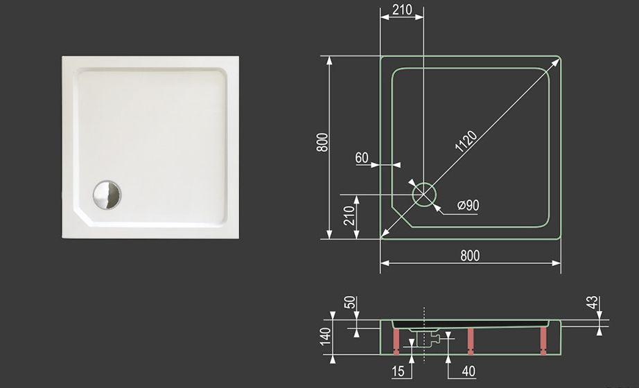 Aquatek - SMC MAXI 80x80cm sprchová vanička z tvrzeného polymeru čtvercová (SMCMAXI80CTV)