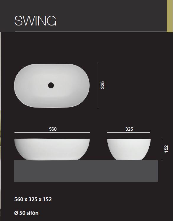 Aquatek - SWING oválné umyvadlo 56 x 32,5 x 15,2 cm (SWING)