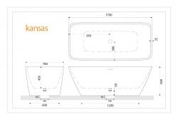 Aquatek - Volně stojící akrylátová vana KANSAS 170x78 cm (KANSAS), fotografie 4/2