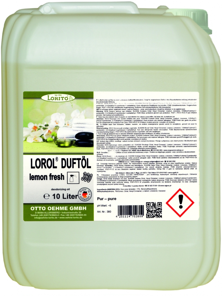 Osvěžovač vzduchu Oehme Lorol Lemon 380 10 l EG709
