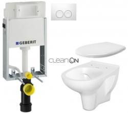 AKCE/SET/GEBERIT - SET KOMBIFIXBasic včetně ovládacího tlačítka DELTA 21 Bílé pro závěsné WC CERSANIT ARTECO CLEANON + SEDÁTKO (110.100.00.1 21BI AT2)