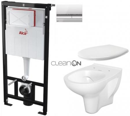 AKCE/SET/ALCAPLAST - SET Sádromodul - předstěnový instalační systém + tlačítko M1721 + WC CERSANIT ARTECO CLEANON + SEDÁTKO (AM101/1120 M1721 AT2)