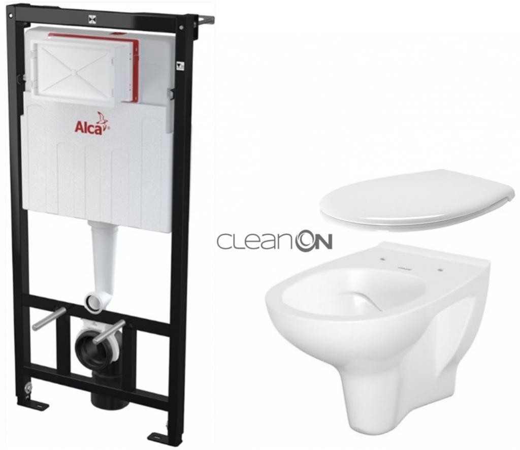 ALCAPLAST Sádromodul předstěnový instalační systém bez tlačítka + WC CERSANIT ARTECO CLEANON + SEDÁTKO AM101/1120 X AT2