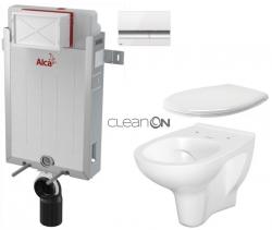 AKCE/SET/ALCAPLAST - SET Renovmodul - předstěnový instalační systém + tlačítko M1720-1 + WC CERSANIT ARTECO CLEANON + SEDÁTKO (AM115/1000 M1720-1 AT2)