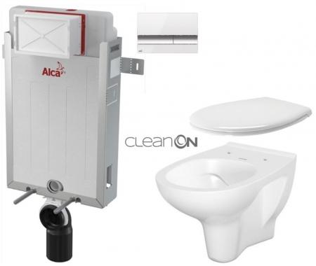 SET Renovmodul - předstěnový instalační systém + tlačítko M1720-1 + WC CERSANIT ARTECO CLEANON + SEDÁTKO (AM115/1000 M1720-1 AT2) - AKCE/SET/ALCAPLAST