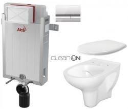 AKCE/SET/ALCAPLAST - SET Renovmodul - předstěnový instalační systém + tlačítko M1721 + WC CERSANIT ARTECO CLEANON + SEDÁTKO (AM115/1000 M1721 AT2)