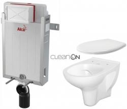 AKCE/SET/ALCAPLAST - SET Renovmodul - předstěnový instalační systém + WC CERSANIT ARTECO CLEANON + SEDÁTKO (AM115/1000 X AT2)