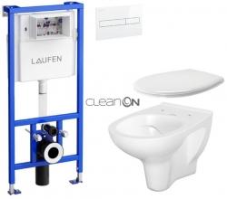 AKCE/SET/LAUFEN - Rámový podomítkový modul CW1  SET BÍLÁ + ovládací tlačítko BÍLÉ + WC CERSANIT ARTECO CLEAN ON + SEDÁTKO (H8946600000001BI AT2)