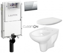 AKCE/SET/LAUFEN - Podomít. systém LIS TW1 SET + ovládací tlačítko CHROM + WC CERSANIT ARTECO CLEAN ON + SEDÁTKO (H8946630000001CR AT2)