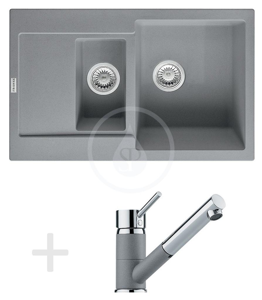 FRANKE Sety Kuchyňský set G74, granitový dřez MRG 651-78, šedý kámen + baterie FG 7486, šedý kámen 114.0365.407