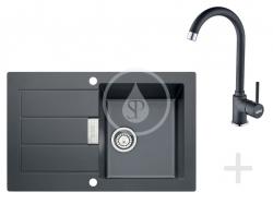 Sety Kuchyňský set T26, tectonitový dřez SID 611-78, černá + baterie FP 9900, černá (114.0366.030) - FRANKE