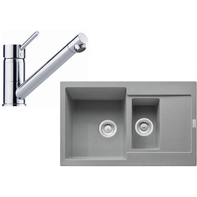 FRANKE Sety Kuchyňský set G103, granitový dřez MRG 651-78, šedý kámen + baterie FG 7477.031, chrom 114.0439.569
