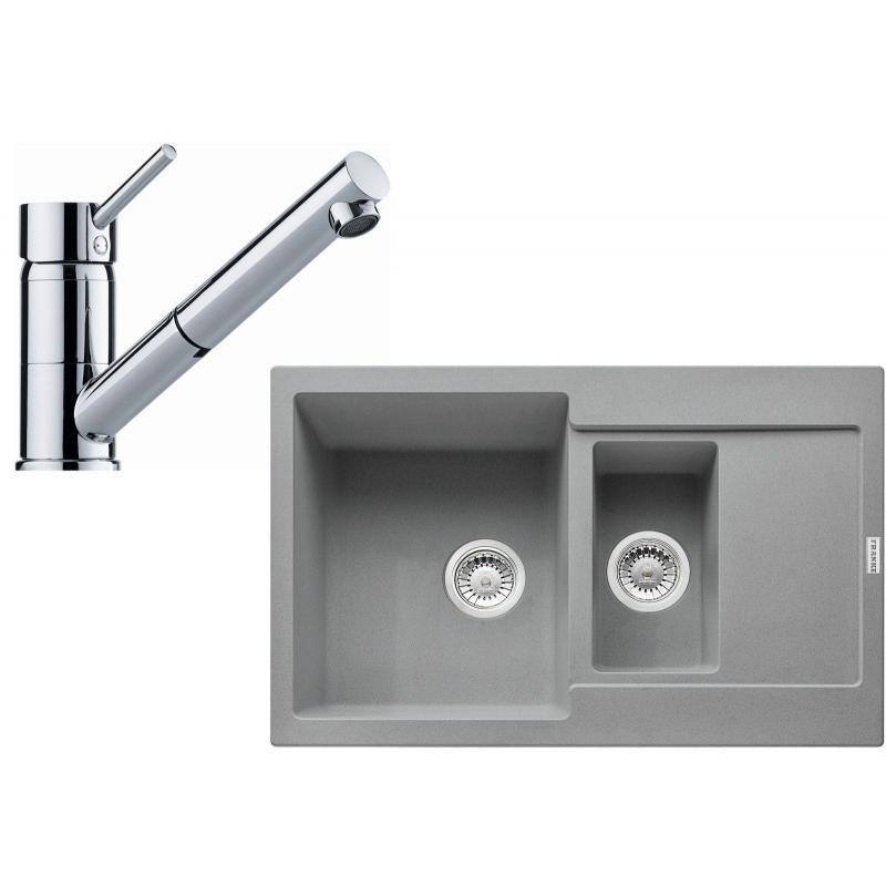 FRANKE Sety Kuchyňský set G104, granitový dřez MRG 651-78, šedý kámen + baterie FG 7486.031, chrom 114.0439.620