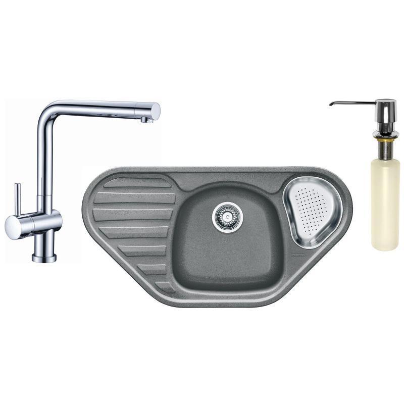 FRANKE Sety Kuchyňský set G124, granitový dřez CUG 651 E, šedý kámen + baterie SAMOA, chrom + dávkovač FD 300 114.0440.288