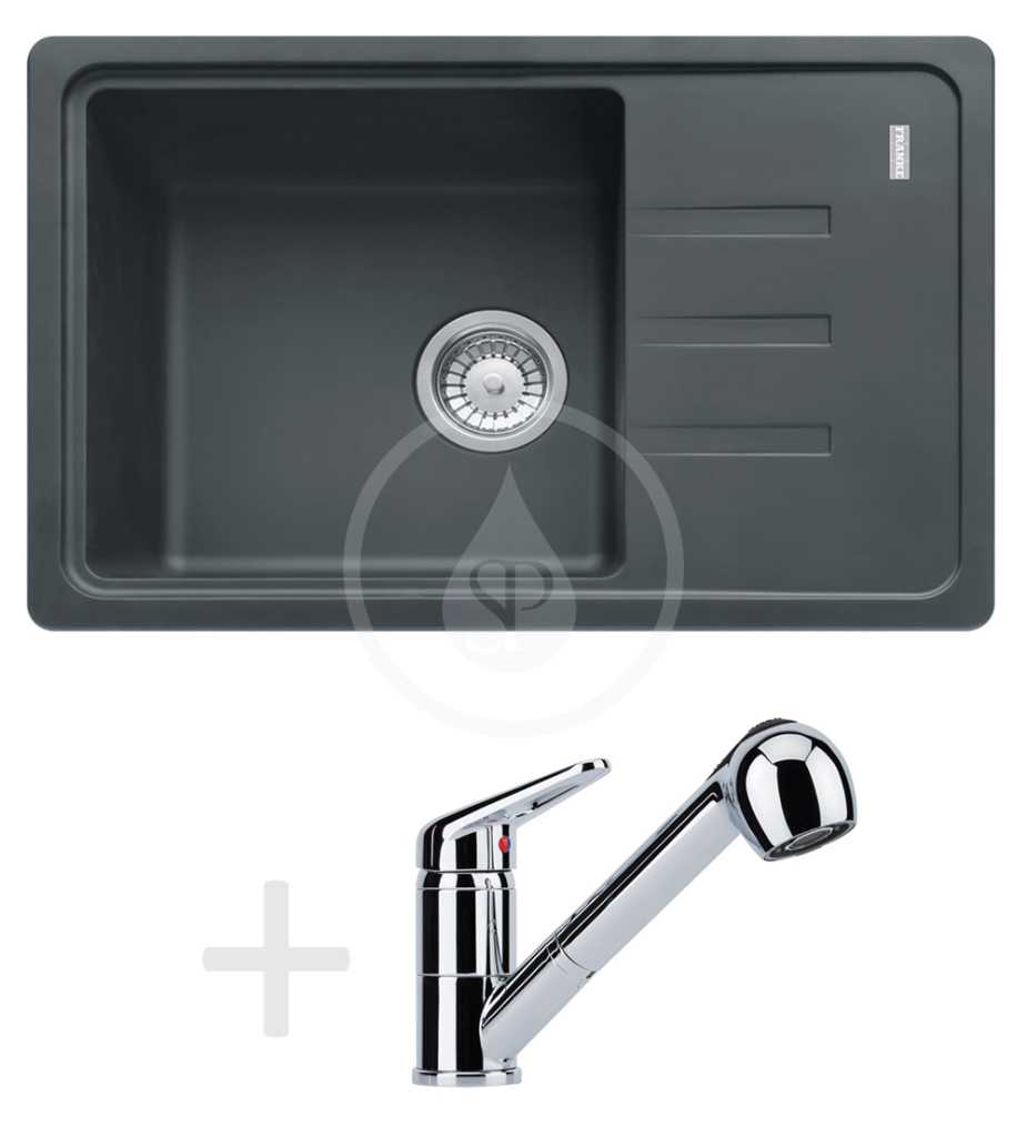 FRANKE Sety Kuchyňský set G150, dřez BSG 611-62, grafit + baterie s výsuvnou sprškou FC 9547.031, chrom 114.0540.208
